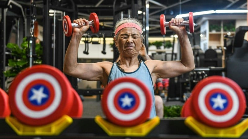 Chen Jifang Works Out